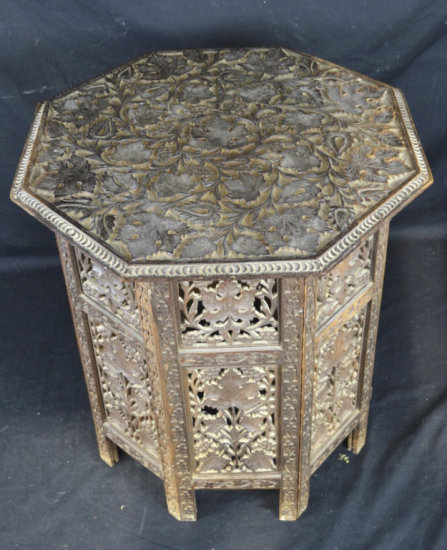 Carved Wood Tabouret Table w/ Octagon Top