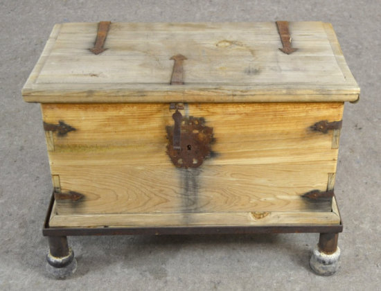 Primitive Wood Trunk Chest on Iron Stand