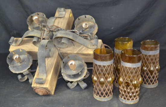 Rustic Wood Mixed w/ Iron Chandelier