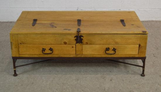 Rustic Wood & Iron Trunk Coffee Table w/ Drawers