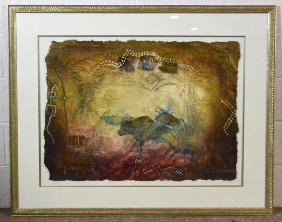 Signed Mixed Media Lithograph Art