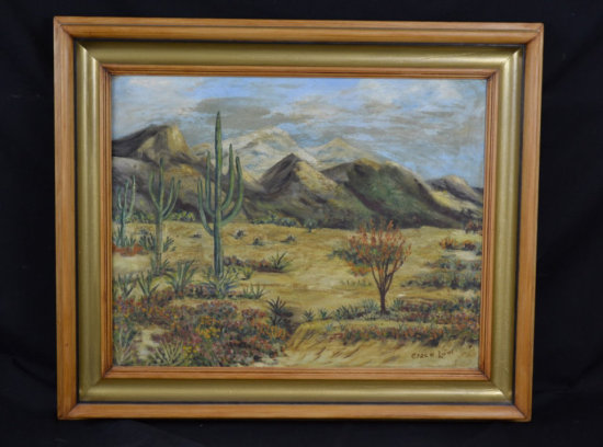 Desert Landscape Oil on Canvas Signed Grace Low